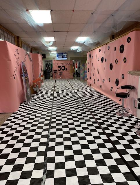 1950s themed hallway